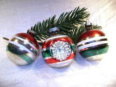 3 Vintage Shiny Brite Ornaments  Indent Red Green by junquegypsy, $19.20