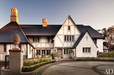 Los Angeles architect Arthur R. Kelly designed the 1930 half-timbered dwelling, which was christened Nine Gables; its brickwork and stucco are painted in Farrow & Ball's Hardwick White.