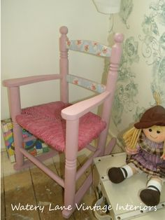 Look at this lovely child rocking chair. Any little girl would love this! Painted in Annie Sloan chalk paint. Hey, I found this really awesome Etsy listing at https://www.etsy.com/listing/174976340/pink-vintage-child-rocking-chair