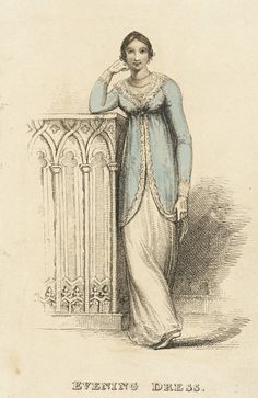Evening Dress, fashion plate, hand-colored engraving on paper, published London, 1813.