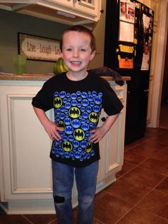 100th Day of school shirt: Super easy! I cut out the Batman logos from fabric & used an iron-on adhesive to stick them to the shirt.