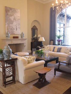 Beautiful living room--centered on fireplace with furniture on perimeter.