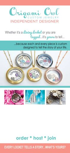 Origami Owl is a leading custom jewelry company known for telling stories through our signature Living Lockets, personalized charms, and other products. Origami Owl Parties, Origami Owl Jewelry, Personalized Charms, Jewelry Companies, Custom Jewelry, Custom Design, Pendant Necklace, Jewerly, Gifts