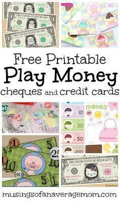Collection of free printable play money, cheques and credit cards for pretend play Money Activities with Kids | Teaching Children Values | Learning Amounts | Learning Change | Learning Good Spending Habits | Learning Costs | Teaching Kids to Save Money | Math with Money #kidsactivities #parenting #goodparenting #parentingadvice