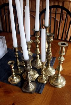 collection of vintage brass candlesticks....easy to find for $1-4 each at thrift stores