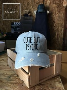 Baseball Cap Cute But Psycho, Denim Cap, Jean Cap, Girlfriend gift, Low-Profile Baseball Cap Hat