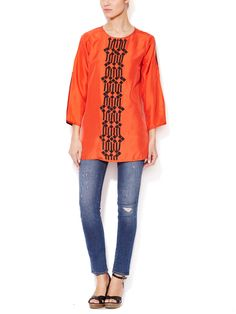 Silk Beaded Tunic by KAS at Gilt