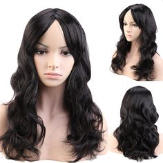 "19"" Women Natural Black Curly Cosplay Party Wig Synthetic Fiber Hair Anime Fancy Halloween Plays Game Full Head Hair Costume 049"
