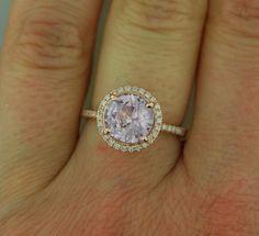 Rose gold engagement ring lavender purple mauve sapphire diamond ring 14k rose gold round sapphire ring by Eidelprecious
