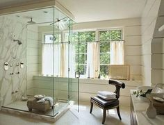 Master bath, love the windows and the marble