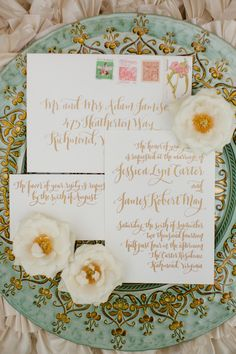 lovely calligraphy // photo by Katelyn James // http://ruffledblog.com/rose-gold-wedding-ideas