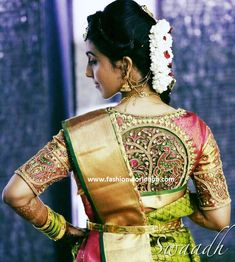 Here are 10 interesting back neck designs for your pattu saree blouses, latest trends and patterns in saree blouse neck designs Pattu Saree Blouse Designs, Bridal Blouse Designs, Hyderabad, Latest Maggam Work Blouses, Blouse Designs Catalogue, Latest Silk Sarees, Blouse Back Neck Designs, Sari, Fashion Designer