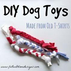 DIY a t-shirt dog toy.