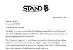 "Come on @Anheuser-Busch, Support Tolerance, Not Hate    Read the entire letter on the @STANDleague site > http://qoo.ly/i8vqa    A&E has resurrected bigotry with Remini's ""Aftermath"" and regrettably, you are a supporter. Through your support you have become a partner in hate, bigotry and lies. This is true. I am a businessman and run the largest company of its type in America. I can't always choose my clients, but I can choose the people and causes I support…"