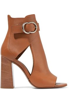 Heel measures approximately 100mm/ 4 inches Tan leather Buckle-fastening ankle strap Made in Italy