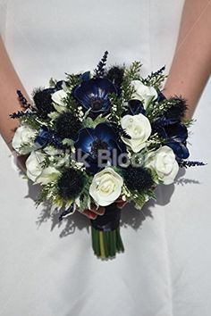 Shop Midnight Blue Anemone, Scottish Thistle & White Fresh Touch Rose Bridal Wedding Bouquet online from Silk Blooms at just £ It is an online artificial wedding flowers store in UK. Blue White Weddings, Navy Wedding Flowers, Bridal Bouquet Blue, Wedding Flower Arrangements, Bride Bouquets, Flower Bouquet Wedding, Floral Wedding, Midnight Blue Weddings, Navy Bouquet
