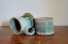 2 Stoneware Coffee Mugs Ceramic Pair of by CobblestonesVintage