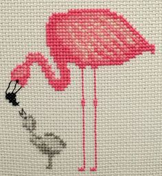 Flamingo and Baby Cross Stitch Embroidery PDF Pattern; cute mother and baby flamingo, easy cross stitch embroidery Cross Stitch Bird, Simple Cross Stitch, Cross Stitch Designs, Cross Stitching, Cross Stitch Patterns, Embroidery Stitches Tutorial, Ribbon Embroidery, Cross Stitch Embroidery, Embroidery Patterns