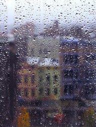 Rainy day through glass.