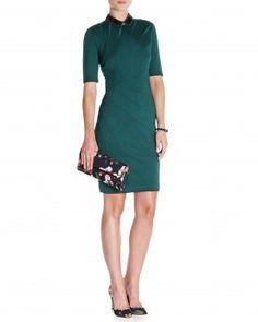 Ted baker kiakia lace panel dress green