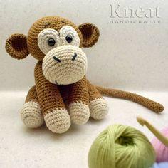 Cute Little Monkey. Pattern by Blue Rabbit Toys. Made by Kneat Handicrafts. Monkey Pattern, Rabbit Toys, Little Monkeys, Amigurumi Toys, Handicraft, Anna, Creatures, Teddy Bear, Crochet