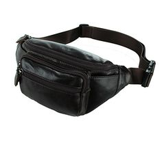 942bceef8c Texbo Men s Genuine Top Leather Waist Pack Fanny Bag