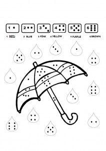 color by number umbrella worksheet