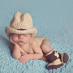 OB Baby Infant Crocheted Cowboy Boots and Hat - Photography Prop