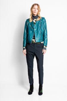 Zadig & Voltaire zipped biker jacket, ZV viscose jacquard lining, decorative snap buttons, 100% burnished lambskin.