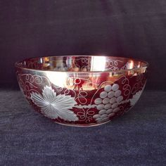 Large Bohemian Glass Bowl Ruby Flashed by KenFrankCollectibles