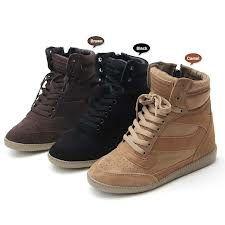 Womens Black High-Top Lace-up fashion Hidden Wedge Heel ankle Casual Sneakers Wedge Heel Sneakers, Ankle Sneakers, Girls Sneakers, Black Sneakers, Casual Sneakers, Wedge Heels, High Top Sneakers, High Heels, Black High Tops