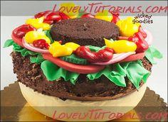 "МК торт ""Гамбургер""-3D Hamburger cake tutorial - Мастер-классы по украшению тортов Cake Decorating Tutorials (How To's) Tortas Paso a Paso"