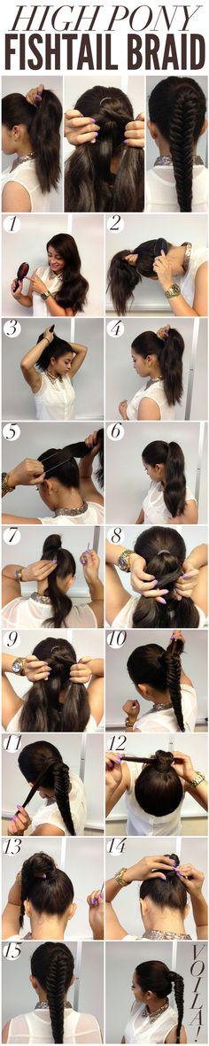 THE HIGH PONY FISHTAIL BRAID-Top 15 Easy-To-Make Braids Tutorials