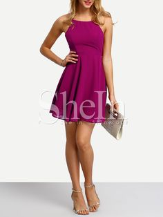 Shop Cami Straps Caged Back Skater Dress online. SheIn offers Cami Straps Caged Back Skater Dress & more to fit your fashionable needs.