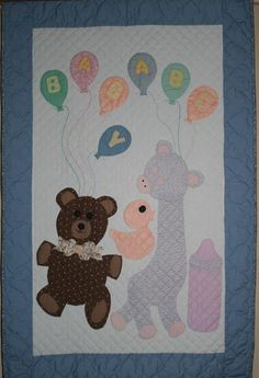 Teddy Bear and Friends Brown an Blue Amish Crib Quilt