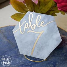 Marble hexagon table numbers. Event decor, modern calligraphy
