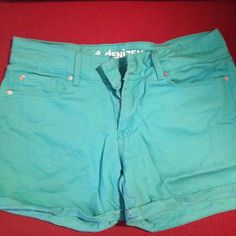Turquoise shorts (mid thigh) Got these a few summers ago, but I only wore them a few times. Still in good condition, just can't fit them anymore unfortunately  Shorts Jean Shorts