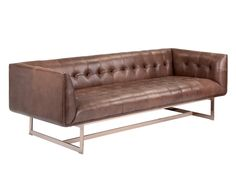 MATISSE SOFA - SADDLE | A contemporary and streamlined sofa from our Club Collection. Featuring tufted seating with a stunning rose gold steel base. Stocked in black, saddle and white nobility bonded leather.