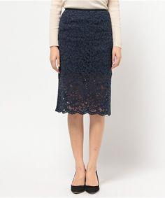 ELFORBR(エルフォーブル)のラッセルレースタイトスカート(スカート)|詳細画像