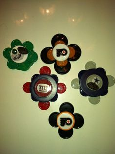 Registered Nurse ID badge holder for Nurses - Sports teams NFL and NHL (made from colorful medication vial caps)