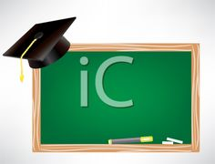 graduation cap and chalk board clipart image