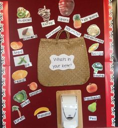 Te Reo display of Maori fruit and veges Could make it whats in your lunch box Early Childhood Activities, Early Childhood Education, School Resources, Teaching Resources, Waitangi Day, Classroom Displays, Classroom Setup, Maori Art, Teaching Aids