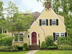 Yellow House Red Door Black Shutters choosing my new exterior paint colors | turquoise accents, yellow
