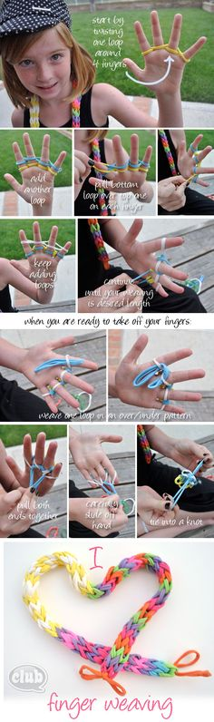 finger weaving tutorial. #diy #craft www.BlueRainbowDesign.com