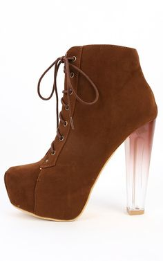 Lace Up Lucite Heel Booties CHOCOLATE