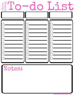 Free To Do List Printable {available in pink, purple and blue}