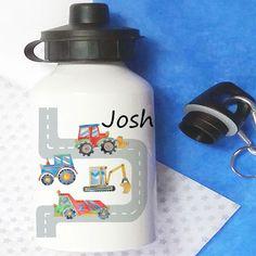 personalised bottle Personalized Water Bottles, Personalized Gifts, School Water Bottles, Digger, School Lunch, Gifts For Boys, Drink Bottles, Drinks, Sports Bottles