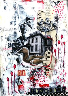 Mixed media art journal page (challenge Nr. 6 - Twine)... Welcome again!      The June art journal challenge on ArtGrupa ATC  c omes from JaMajka and the theme is called   Twine .   I creat...