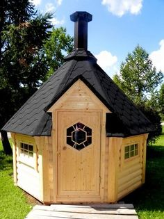 This cute little BBQ Hut will entertain your guests whatever the weather. In the Summer for barbeques or in the Winter celebrating the new year in over a warm glowing fire. Double Glass Windows, Double Glazed Window, Bbq Hut, Shed Cabin, Hut House, Cabin Doors, Sauna Room, Roof Colors, Roof Panels