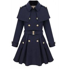 Chic Polo Collar Breasted With Pockets  Trench-coats ($62) ❤ liked on Polyvore featuring outerwear, coats, jackets, dresses, collar coat, long trench coat, polo coats, double breasted coat and trench coats